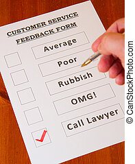 Fun Customer Service Feedback Form loaded with bad options including average, poor, rubbish, OMG and `Call lawyers`