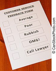 Fun Customer Service Feedback Form loaded with bad options...