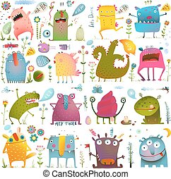Fun Cute Cartoon Monsters for Kids Design Collection - Vivid...