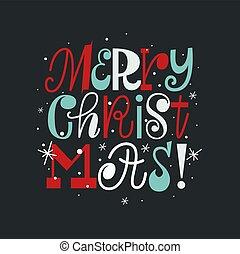 Fun cute Christmas hand drawn lettering design