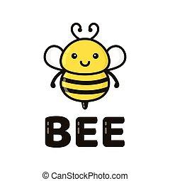 Fun cute happy smiling bee. Vector