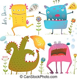Fun Cute Kind Monsters for Children Design Colorful...