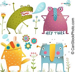 Fun Cute Little Monsters for Kids Design Colorful Collection...