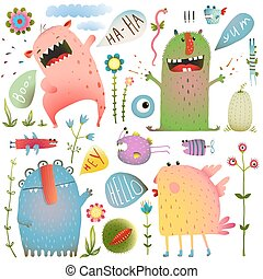Fun Cute Monsters for Kids Design Colorful Collection with...