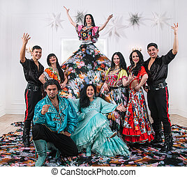 fun dance band in the Gypsy costumes