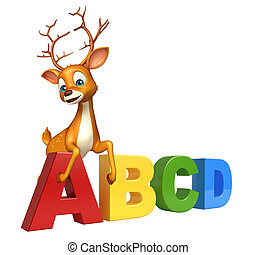 fun Deer cartoon character with ABCD sign
