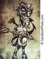 Fun devil cartoon, Tattoo sketch, handmade design over vintage p