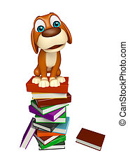 fun Dog cartoon character with book stack