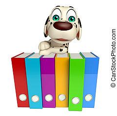 fun Dog cartoon character  with files