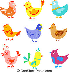 Fun doodle birds and cocks set for design