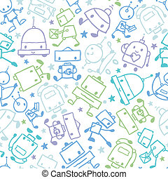 Fun doodle robots seamless pattern background - Vector fun...
