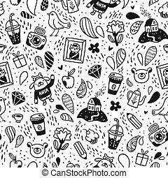 Fun doodle seamless pattern