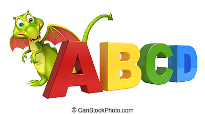 fun Dragon cartoon character with ABCD sign