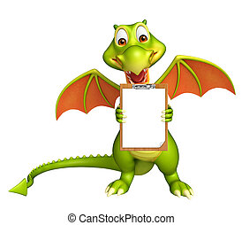 fun Dragon cartoon character with exam pad - 3d rendered...