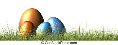 fun easter eggs in grass
