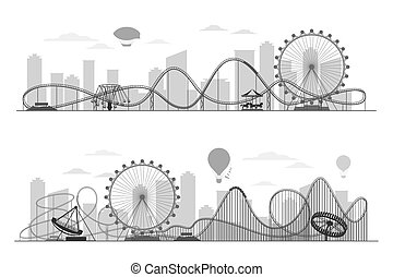 Fun fair amusement park landscape silhouette with ferris...