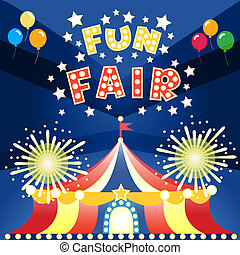 fun fair poster - Fun fair at night poster template vector...
