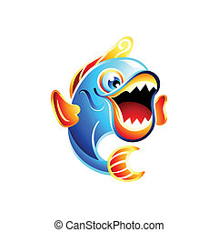 Fun fish - Colorful jumping funny fish with big mouth open