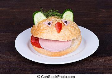 Fun food for kids - hamburger looks like a funny muzzle