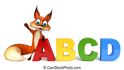 fun Fox cartoon character with ABCD sign