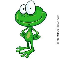 fun frog cartoon on white background