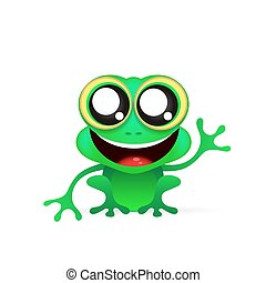 Fun frog on white background - Illustration of a smiling...
