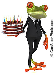Fun frog with a birthday cake - 3D Illustration