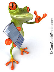 Fun frog with a phone