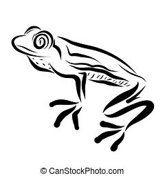Fun frog with big eyes, black outline