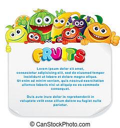 Fun Fruit Sign - Cartoon Fruits. Funny Banana, Apple,...