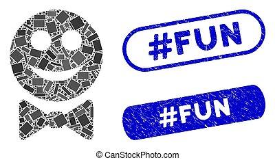#fun, garçom, selos, mosaico, contente, angústia, retângulo