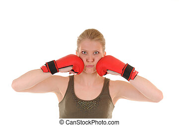 Fun girl with red boxing gloves