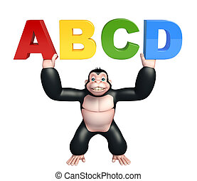 fun Gorilla cartoon character with ABCD sign