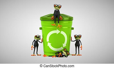 Fun green cartoon frogs recycling trash