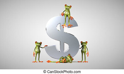 Fun green frogs next to a dollar