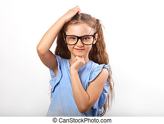 Fun happy girl in eye glasses thinking and scratch the head isolated on with empty copy spase background