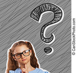 Fun happy girl in eyeglasses looking up on one big question sign illustration above the head on grey sketched background with empty copy space. Closeup