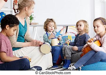 Fun in kindergarten - Four preschoolers having fun in ...