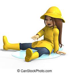 fun in rain - cute litte toon girl has fun in rain. with...