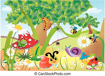 Fun in the forest, - composition of insects that live in the...