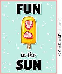 Fun in the sun cute cartoon postcard. Creative, romantic, inspirational quote. Trendy typography summer flyer