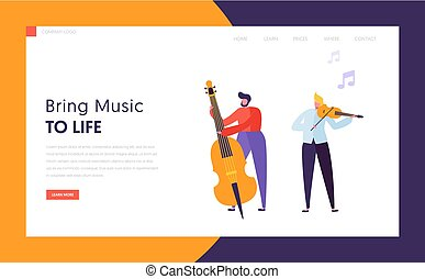 Fun Jazz Performance Concept Landing Page. Cute Musician Man Character with Musical Instrument Contrabass Violin Play Music. Colorful Band Image Website or Web Page. Flat Cartoon Vector Illustration