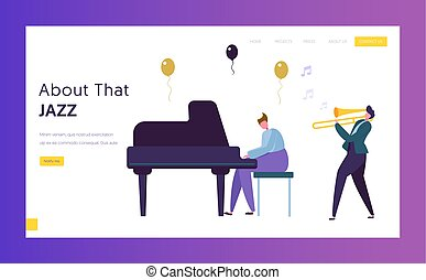 Fun Jazz Performance Concept Landing Page. Musician Male Character with Musical Instrument Piano Trumpet Play Music. Colorful Band Silhouette Website or Web Page. Flat Cartoon Vector Illustration