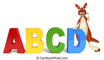 fun Kangaroo cartoon character with abcd sign