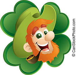Fun Leprechaun And Four-Leaf Clover