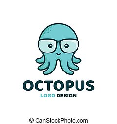 Fun little cute smiling happy octopus in glasses