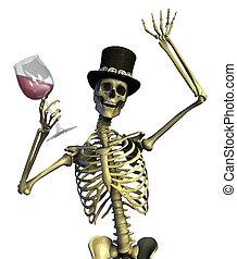 Fun loving party skeleton - on white - 3D render