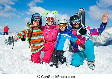 fun., lycklig, vinter, familj, skidåkning