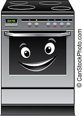 Fun modern stove kitchen appliance with a happy smiling face in the glass door