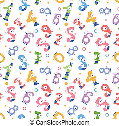 Fun numbers seamless pattern background - Vector fun numbers...